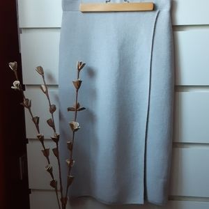 BABATON Luxury Wool Blend Midi Wrap Skirt